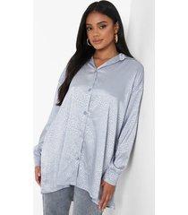 petite oversized jacquard satijnen luipaardprint blouse, petrol