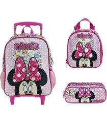 kit mochila xeryus minnie mouse arco mágico de rodinhas com lancheira e estojo