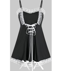 plus size frilled lace bowknot lace-up cami babydoll set