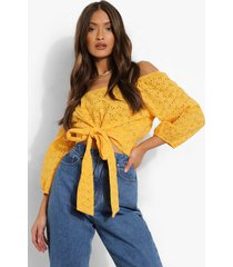 broderie off shoulder top met strik, mustard