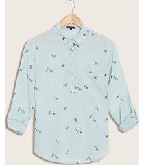 blusa azul estampada verde s