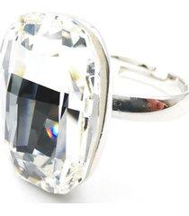 anillo oval blanco swarovski baño de rodio sara k
