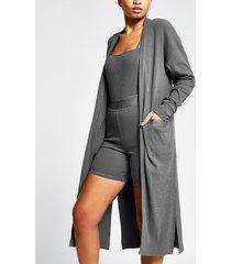 river island womens intimates grey long sleeve long line cardigan