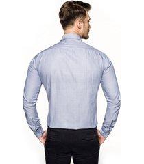 koszula bexley 2632 długi rękaw slim fit niebieski