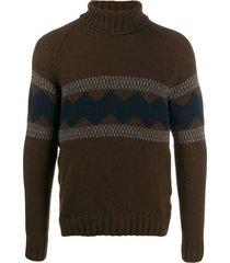 fay suéter com padronagem contrastante - marrom
