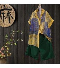 zanzea las mujeres florales de la vendimia impresión botones camisa con las tapas flojas étnico de gran tamaño de la blusa -amarillo