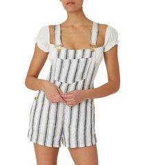 weworewhat women's basic striped linen shortall - navy white - size xs