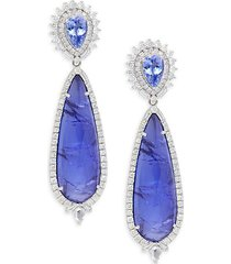 18k white gold, sliced tanzanite & diamond drop earrings