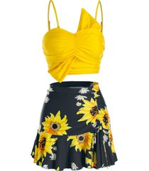 plus size sunflower ruched three pieces skirted tankini swimwear