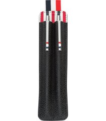 thom browne pen and pencil set with case in pebble grain - black