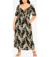 city chic trendy plus size royal palm maxi dress
