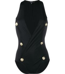 balmain decorative buttons wrap swimsuit - black
