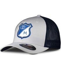 gorra oficial blanco de malla millonarios  flexfit otocaps fmip-002 blanca/azul