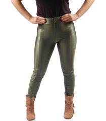 calça benne legging com recorte verde militar