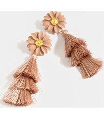 poppy floral tiered tassel earrings - pale pink