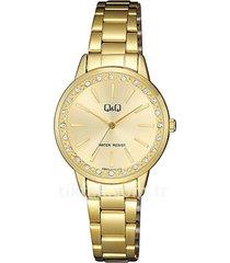 reloj para dama elegante q&q qb09j010y dorado