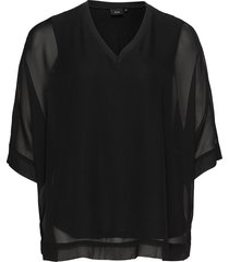 blouse plus 3/4 lenght sleeves v neck blus långärmad svart zizzi