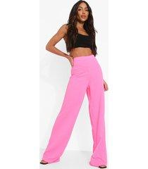 crêpe neon wide leg broek met hoge taille, neon-pink
