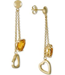 citrine heart chain drop earrings (4-1/5 ct. t.w.) in 14k gold-plated sterling silver