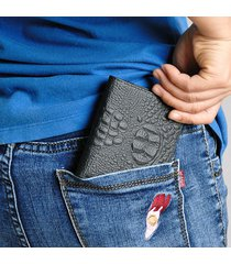 portafoglio corto casual vintage in pelle di coccodrillo per donna