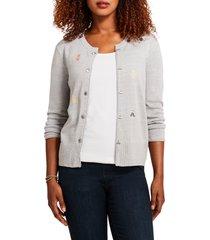 women's nic+zoe busy bee cardigan, size xx-large - grey