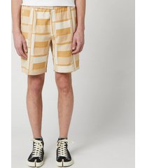 folk men's drawcord assembly shorts - marigold jacquard - l