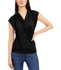 inc cap-sleeve surplice top, created for macy's