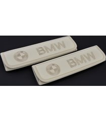 bmw leather seat belt covers shoulder pad emblem embroidery interior accessories