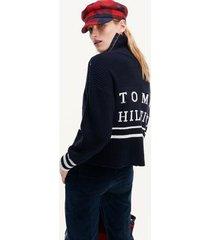 tommy hilfiger women's ribbed varsity turtleneck sweater desert sky - xxl