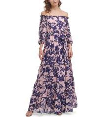 eliza j printed chiffon gown