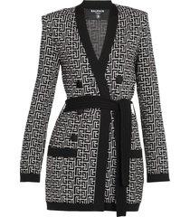balmain wool and linen blend cardigan