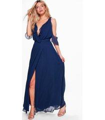 chiffon maxi wikkel bruidsmeisjes jurk met franjes, marineblauw