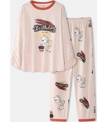 tasca per camicetta con stampa a lettere con grafica a cartoni animati da donna pantaloni pigiama comodo per la casa