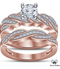 criss cross engagement ring bridal set round cut cz rose gold plated 925 silver