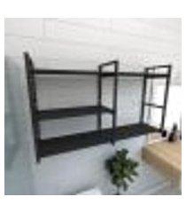 prateleira industrial para banheiro aço cor preto prateleiras 30 cm cor preto modelo ind14pb