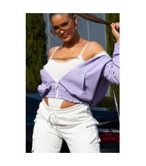 super trendy faux leder jas met ritssluiting lila