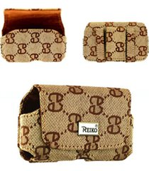 reiko horizontal pouch nylon hn03 s in brown with double e design 3.5x1.9x0.9 in