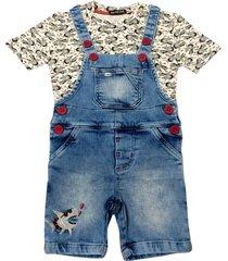 jardineira jeans com camiseta estampada ser garoto azul - azul marinho/bege/cinza/vermelho - menino - algodã£o - dafiti