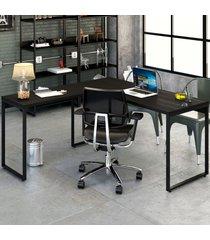 mesa para escritório angular kuadra ônix - compace