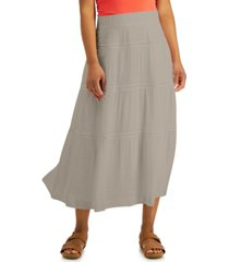 jm collection petite tiered gauze skirt, created for macy's
