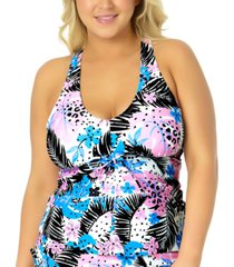 california waves trendy plus size cinch-front floral tankini top, created for macy's women's swimsuit