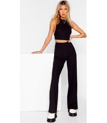 womens get straight to it top and wide-leg pants set - black