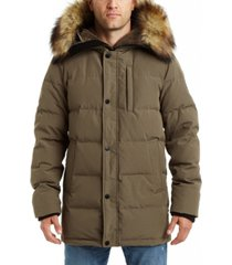 vince camuto men's channeled parka with faux fur trimmed & sherpa lined hood