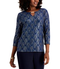 jm collection keyhole jacquard hardware top, created for macy's