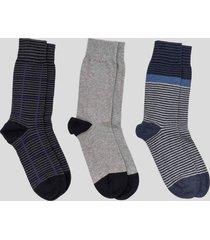 tripack calcetines altos rayas gris baziani