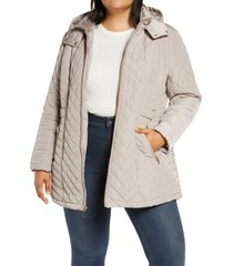 plus size women's gallery fleece lined diamond quilted hooded jacket