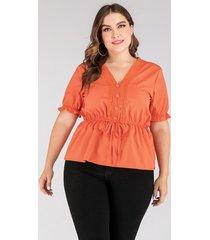 blusa de manga corta con cuello en v y diseño de cinturón naranja talla grande