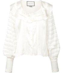alexis paneled ruffle blouse - white