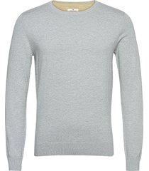 basic crew n stickad tröja m. rund krage grå tom tailor