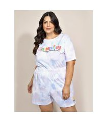 pijama feminino plus size bob esponja estampado tie dye manga curta multicor